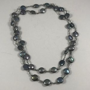 Vintage Black Coin Pearl Necklace, 38 Pearls
